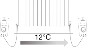 How to balance a Central Heating System, step 7: Set the difference in temperature at 12°C